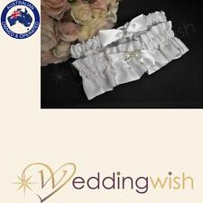 Wedding Duchess Satin Two Piece Garter With Diamonds and Pearls White