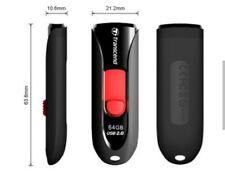 NIB Transcend JetFlash 590 Black & Red Retractable USB 2.0 Flash Drive 16 GB