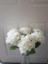 Set of 6 Long Stem White Hydrangea Faux Silk Flower Luxury Decor Home Accessory