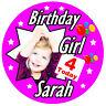 Niñas Personalizado Cumpleaños INSIGNIA, cualquier edad, NOMBRE, foto, Y COLORES