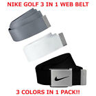NIKE GOLF MEN'S WEB BELT 3 IN 1 PACK BLACK/GREY/WHITE OSFA UP TO 42