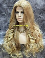 Long Wavy Blonde Mix Full Lace Front Wig Heat Ok Hair Piece #T27/613 NWT