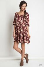 Kori America Umgee Women's Boho Peasant Dress Floral Wine Burgundy S Small