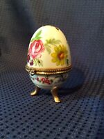 Beautifully Designed Egg Shaped Porcelain Jewelry Trinket Box Gold Trimm