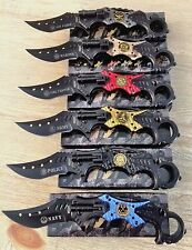 (6 )KARAMBIT Wholesale Lot Assorted MILITARY Spring Assisted Pocket Knife Combat