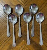 "Oneida Community AA FIESTA Soup Spoons Round Bowl Silverplate 6 7/8"" Lot of 6"