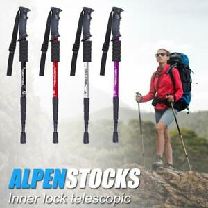 Trekking Pole 4 Sections Aluminum Telescopic Outdoor Hiking Walking Stick Cane