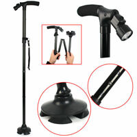 MAGIC CANE Walking Stick Adjustable Height Folding & Free Standing + LED Lights