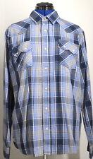 LEVI'S Men's Sawtooth Long Sleeve Plaid Shirt (Plaid Blue) Large