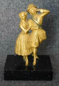 RARE ANTIQUE FRENCH GILT BRONZE MINIATURE ELIZABETHAN COURTING COUPLE ON MARBLE