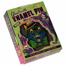 Monster Mask Retro Halloween Collectable Crazy Cat Enamel Pin Ghoulsville