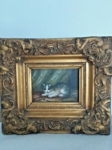 Vintage/Antique Gold Gilt 3D Frame with CAT KITTEN Oil Painting On Wood Panel FS