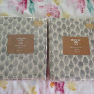 NEW West Elm Stamped Dot Curtains Drapes 48x108  FROST GRAY Set/ 2pc