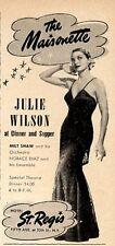 1951 Hotel St. Regis Ny Print Ad The Maisonette features Julie Wilson