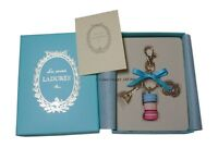 New Version LADUREE Keychain Key Ring Macaron Eiffel Tower Aqua Blue in Gift Box