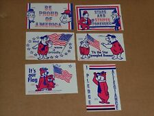 Laurel & Hardy Yogi Sticker Lot (6), ca 1976, Bicentennial, Proud to Be American
