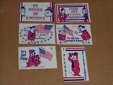 Laurel & Hardy Yogi Sticker Lot (6), ca 1976, Bicentennial, Proud to Be American