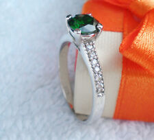 W Ring Size Green Stone 6.50mm Round  925 Sterlyng Silver