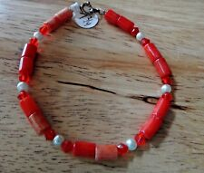"""7.75"""" 5mm Red Crystals 7mm long dyed Red Coral Sterling Silver Clasp Bracelet"""