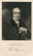 PORTRAIT OF SIR THOMAS LAWRENCE & ORIGINAL ca 1832 ENGRAVING BY J.THOMSON