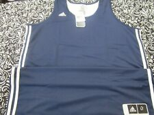 Nwt Adidas Climalite Prac Rev Basketball Jersey Navy And White Mens Lt T2359