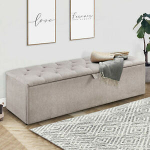 Large Chesterfield Blanket Box Ottoman Storage Box Upholstered Bench Stool Trunk