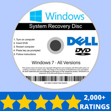 Dell Windows 7 Recovery Reinstall Repair Install Installation DVD Disc 32/64 bit