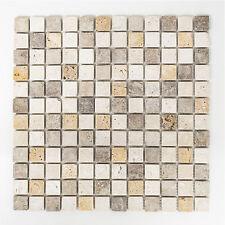 Mosaikmatte Quadrat Travertin Mix Tumbled Moasikfliese Innen Außen Boden Nass