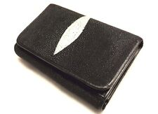 Genuine Stingray Wallets Skin Leather Short Trifold Men's Black Clutch Coin Bags