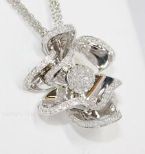Giorgio Visconti 0.58CTW F-G VS Diamond Flower Pendant Necklace 18K White Gold