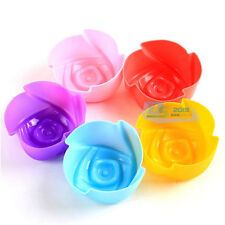 10X Silicone Rose Cake Muffin Chocolate Cupcake Liner Baking Cups Mold Bakeware