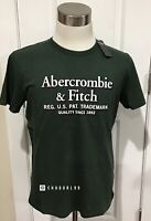 NWT Abercrombie & Fitch Men's SHORT-SLEEVE LOGO TEE, Green , Medium