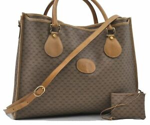 Authentic GUCCI Micro GG PVC Leather Shoulder Tote Bag 2Way Brown D5235
