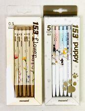 2 Sets of 5 Ballpoint Pens lot MONAMI 153 Flower (Black Ink) Puppy (5 Colors)