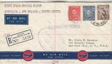 Australia -New Zealand-Us First Trans-Pacific Flight Registered Cover