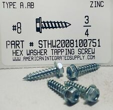 #8x3/4 Hex Washer Head Tapping Screws Steel Zinc Plated (100)