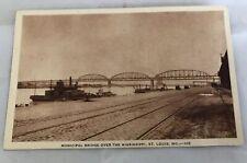 Missouri Bridge Over Mississippi River St Louis Postcard Old Vintage