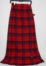 "Laird Porch Scottish Red Green Black Tartan Plaid Long Kilted Skirt waist 26"""