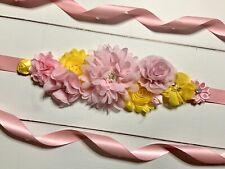Pink/Yellow Maternity Sash Belt /Baby Showers Vintage Belt /Flower Girl Sash