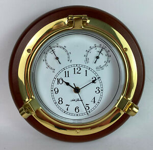 Seth Thomas Meridian #1046 Solid Brass Wood Combination Wall Instrument nautical
