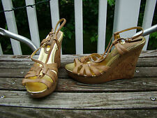 CHARLES BY CHARLES DAVID NUDE BEIGE LIGHT TAN STRAPPY WEDGE HIGH HEELS SIZE 7 B