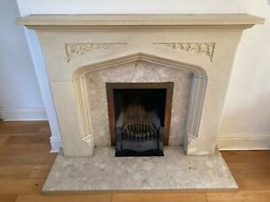 """Stone Effect Fireplace Surround with marble hearth & slips back panels 54"""" x 18"""""""