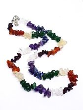 7 Seven Chakra Gemstone Chip Necklace Reiki Charged Chakra Balancing