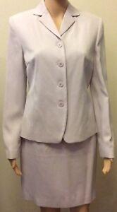 NEW Ann Taylor Loft 4 Purple Lavendar SILK 2pc Skirt Suit NWT $220