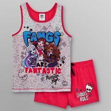 MONSTER High Pjs Girl's 10/12 NeW Pink Pajamas Shirt Shorts Draculaura Frankie