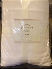 """NIP POTTERY BARN UPHOLSTERED BED SKIRT CAL KING CLASSIC WHITE COTTON 14"""" DROP"""