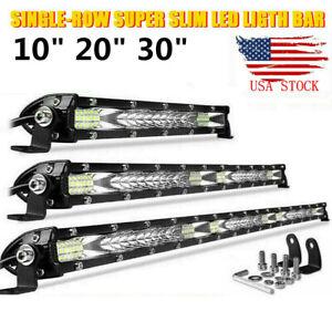 "10"" 20"" 30"" Slim LED Light Bar Work Driving Spot Flood Combo Offroad ATV 4WD US"