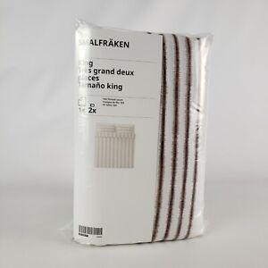 Ikea Smalfraken Duvet Cover Set King White/Brown Stripes 404.929.77