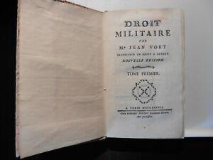 DROIT MILITAIRE - TOME PREMIER - JEAN VOET - TORINO ANNO 1777