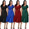 Women's Plus Size Summer Asymmetric Hem V-Neck Ruffled Party Evening Midi Dress